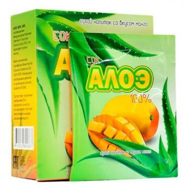 Сок алоэ со вкусом манго 7 пакетиков